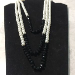 Pearl, black necklace
